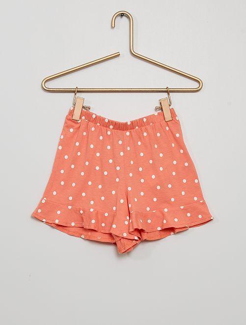 Falda pantalón estampada                                                                                         rosa lunar