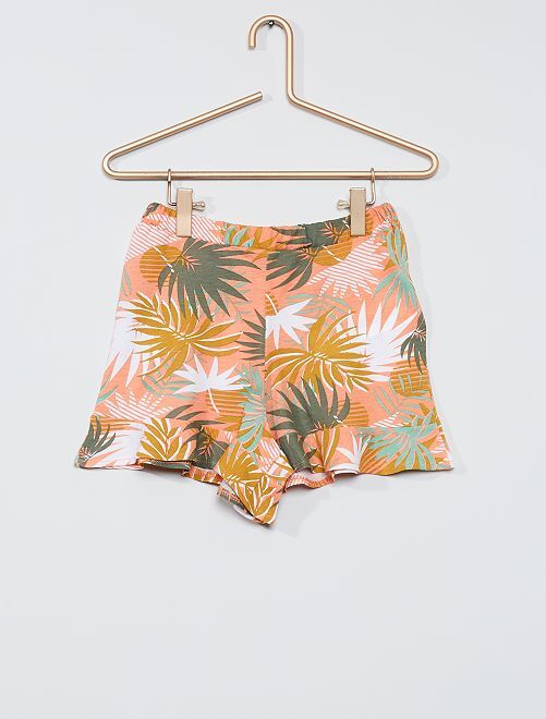 Falda pantalón estampada                                                                                         ROSA