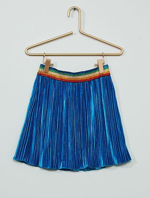 Falda plisada de terciopelo                                         azul