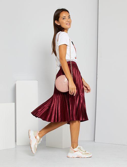 Falda plisada satinada                                                     rojo rododendro