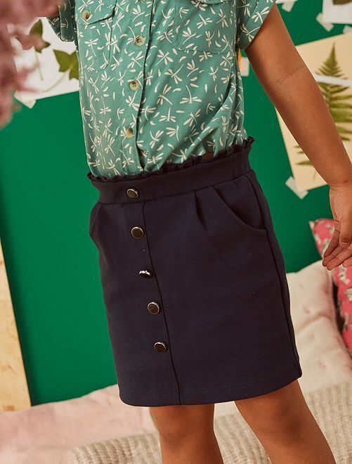 Falda recta de punto                             azul
