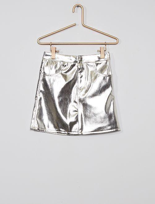 Falda sintética                                         plata