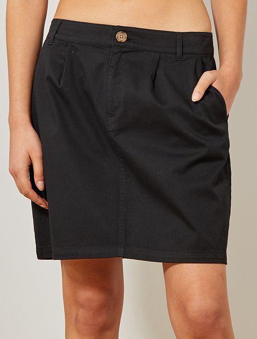 Falda tipo chino de algodón elástico                                                     negro Mujer talla 34 a 48