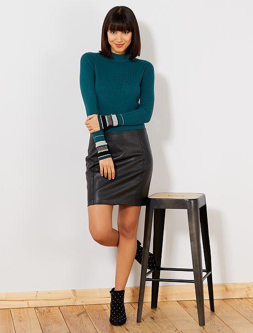 Falda tubo de piel sintética con aberturas                                 negro Mujer talla 34 a 48