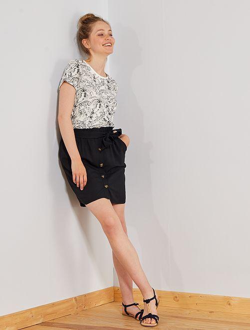 Falda vaporosa con botones                                         negro Mujer talla 34 a 48