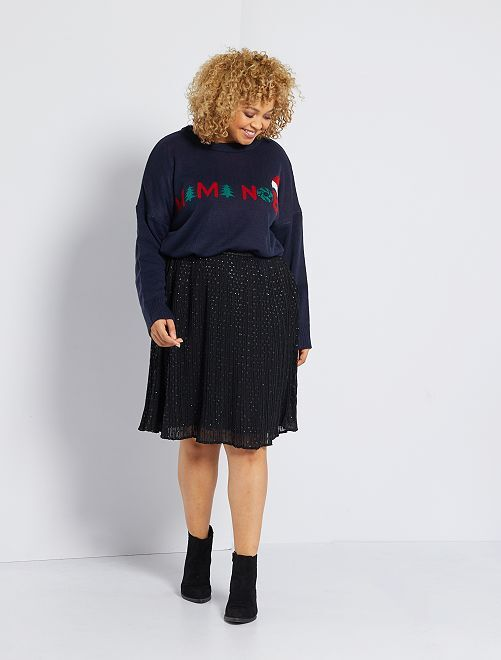 Falda vaporosa con brillos                                         negro