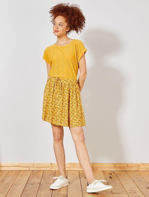 Falda vaporosa estampada                                                     AMARILLO Mujer talla 34 a 48