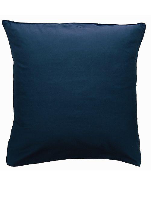 Funda de almohada de raso de algodón                                                                                         AZUL