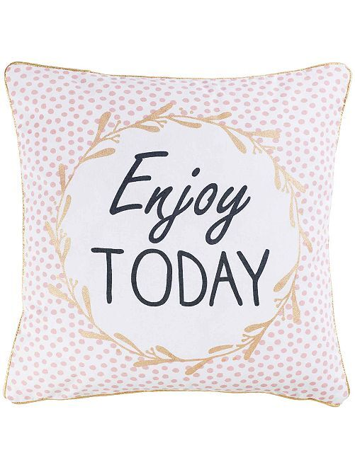 Funda de cojín 'Enjoy Today'                             BLANCO Hogar