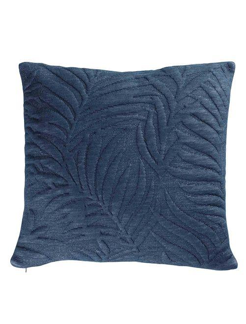 Funda de cojín 'hojas' relieve                                         azul Hogar