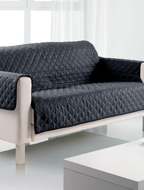 Funda para sof 3 plazas hogar negro kiabi 20 00 - Fundas para sofas con cheslong ...