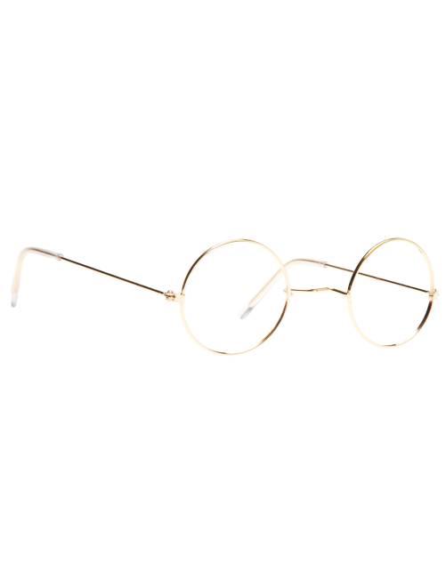 Gafas redondas metálicas sin cristal                             dorado