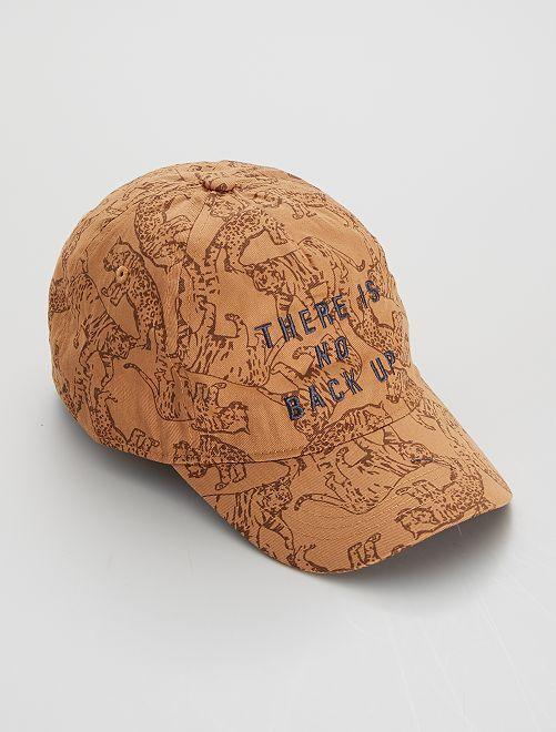 Gorra bordada con estampado de 'tigres'                                         MARRON
