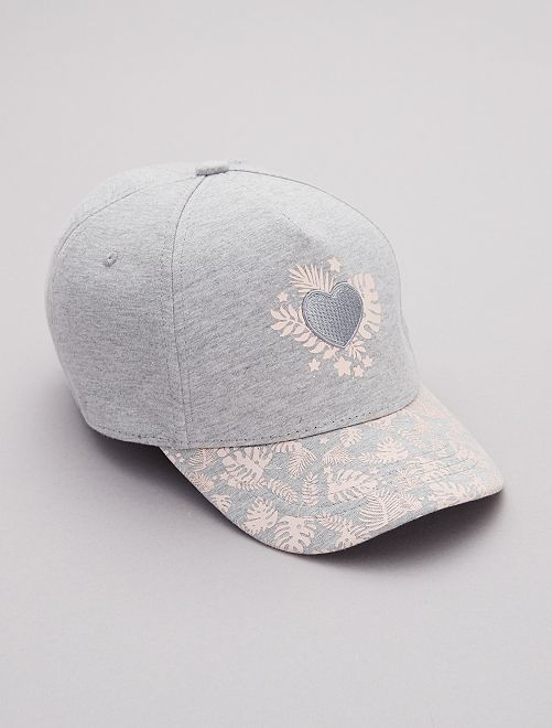 Gorra bordada estampada 'tropical'                                         GRIS