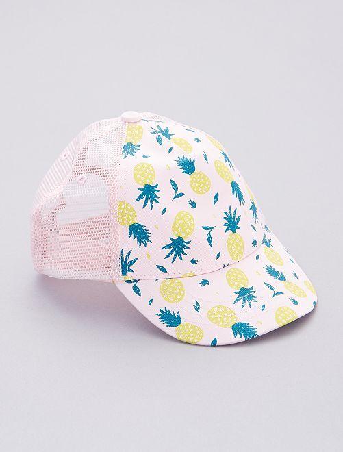 Gorra con estampado de piña                             AZUL