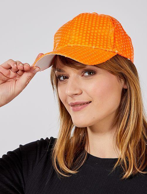 Gorra con lentejuelas flúor                                 naranja