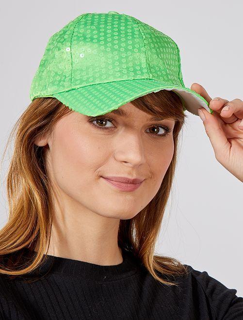 Gorra con lentejuelas flúor                                                     verde