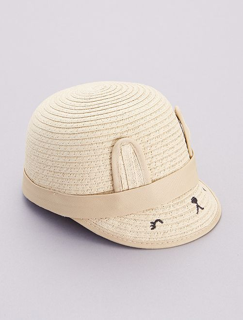Gorra de paja con 'orejas'                             beige