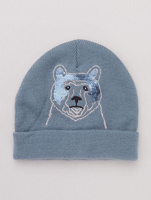 Gorro de 'oso' con detalle de 'lentejuelas'                             azul gris