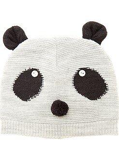 Complementos - Gorro de punto tricotado 'Panda'