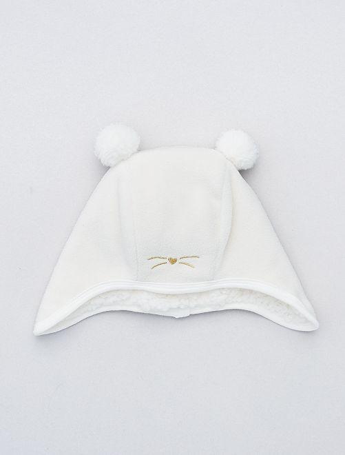 Gorro de tejido polar forrado con pelo de borreguito suave                             blanco nieve