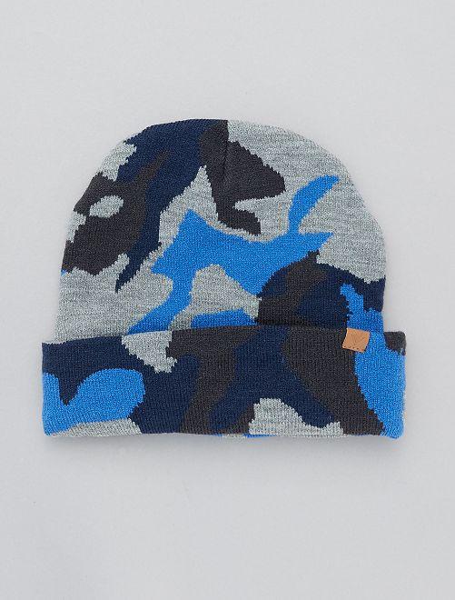 Gorro estampado camuflaje                                         marino/azul
