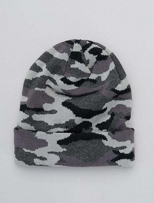 Gorro estampado camuflaje                                         negro/gris