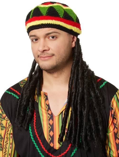 Gorro rastafari con rastas falsas                             multicolor