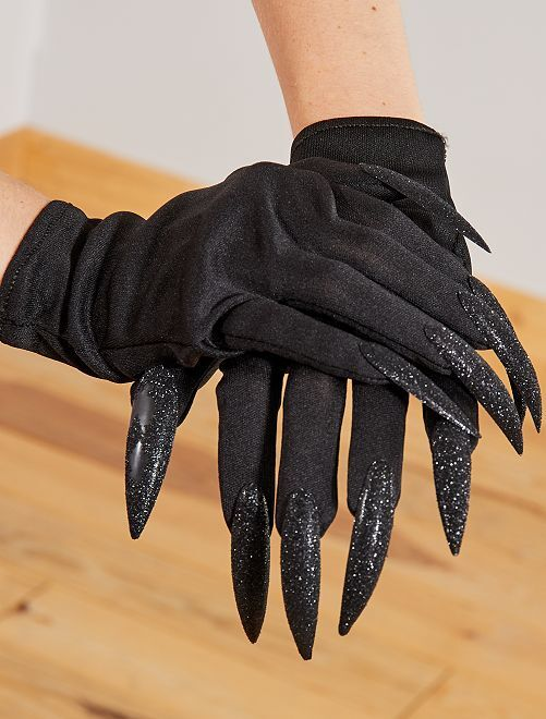 Guantes con uñas falsas                             negro