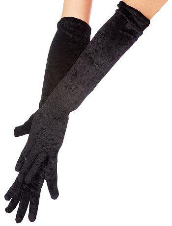 Guantes largos de terciopelo negro - Kiabi