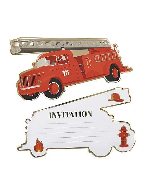 Invitaciones para una fiesta con temática de 'bomberos'                             rojo