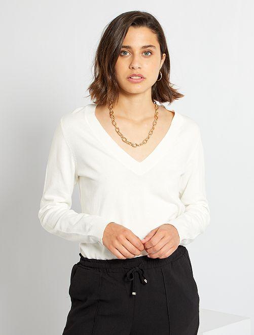 Jersey básico con cuello de pico                                                                                                                             blanco nieve