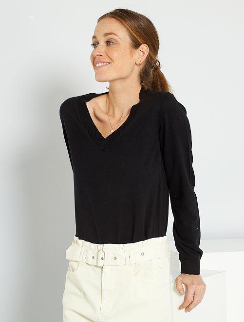 Jersey básico con cuello de pico                                                                                                                                         negro