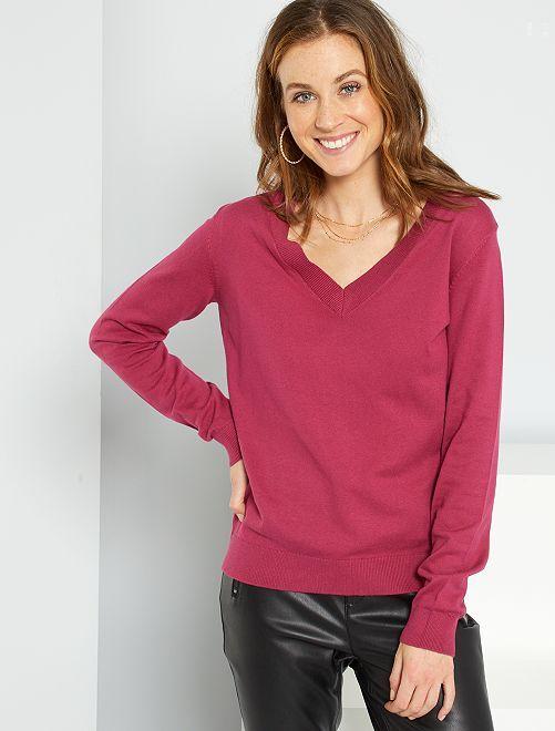 Jersey básico con cuello de pico                                                                                                                                                                 rojo