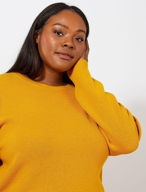 Jersey básico de punto perlado                                                                 amarillo bronce