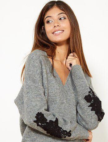 Mujer talla 34 to 48 - Jersey bordado con lana - Kiabi