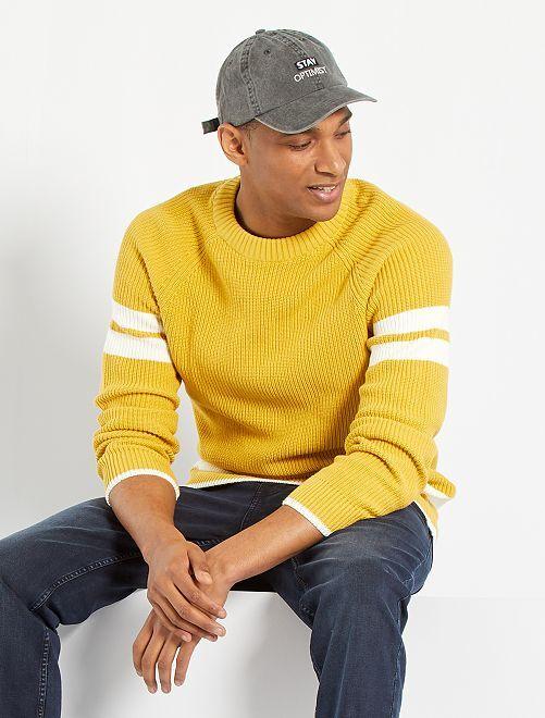 Jersey con bandas en contraste                                         amarillo anaranjado