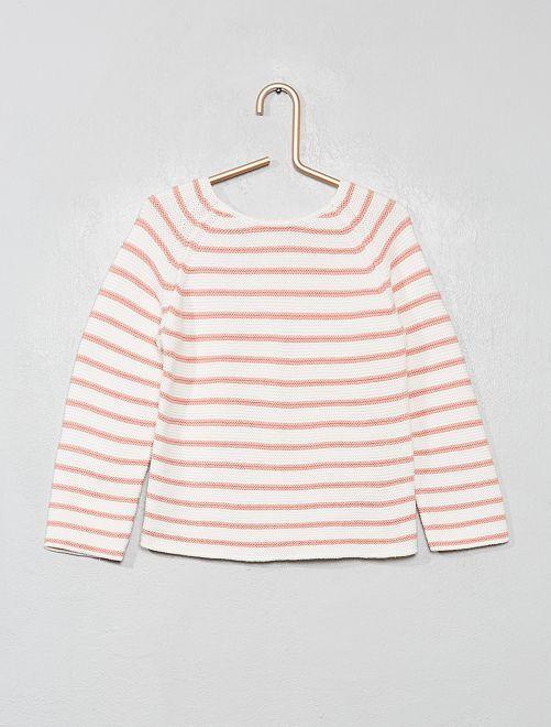 Jersey con botones en la parte trasera                                                                             a rayas rosa