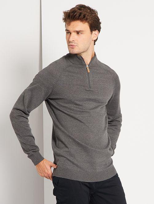 Jersey con cremallera en el cuello 'eco-concepción' +1,90 m                             GRIS