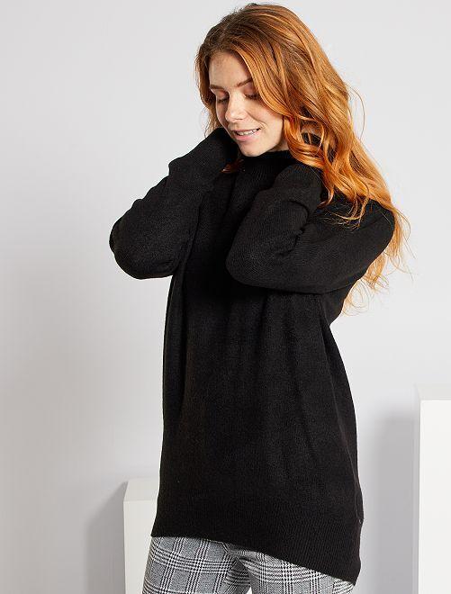 Jersey con cuello chimenea                                                                                                                                         negro