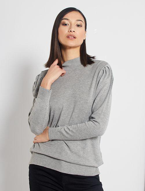 Jersey con cuello chimenea y manga abullonada                                                                 GRIS