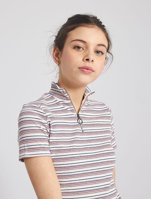 Jersey con cuello de cremallera                             a rayas