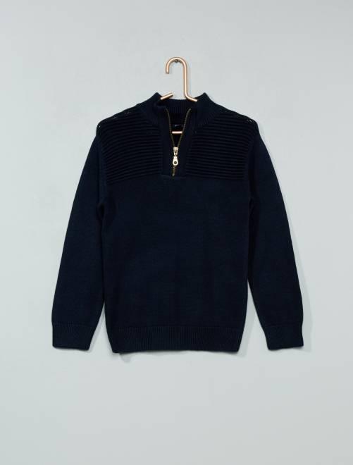 Jersey con cuello de cremallera                                                     azul