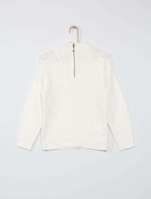 Jersey con cuello de cremallera                                                     blanco nieve