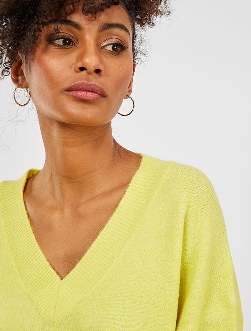 Jersey con cuello de pico                                                                                                                 amarillo