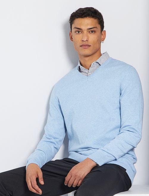 Jersey con cuello de pico eco-concepción                                                                                                                                                                 AZUL