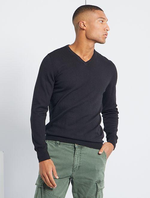 Jersey con cuello de pico eco-concepción                                                                                                                                                                                         negro