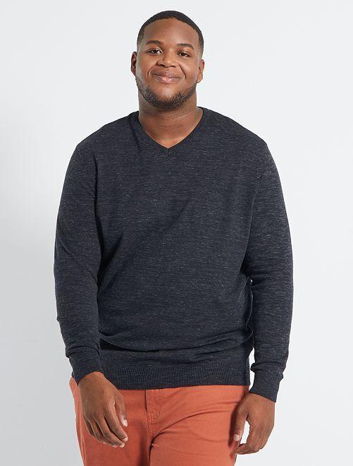 Jersey con cuello de pico 'eco-concepción'                                                     NEGRO