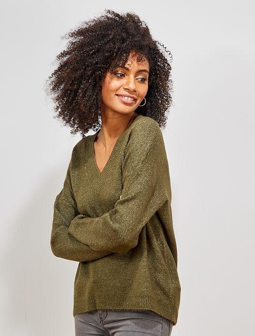 Jersey con cuello de pico                                                         KAKI