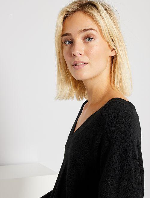 Jersey con cuello de pico                                         negro